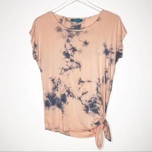 River + Sky   Pink Tie Dye Side Tie Soft Tee Sz M